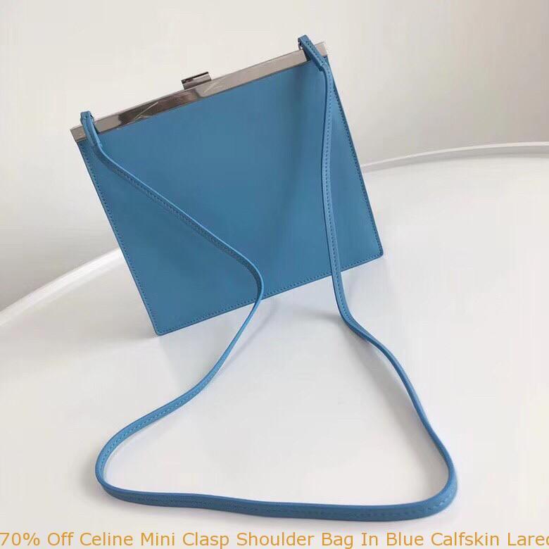 68578af48708 70% Off Celine Mini Clasp Shoulder Bag In Blue Calfskin Laredo