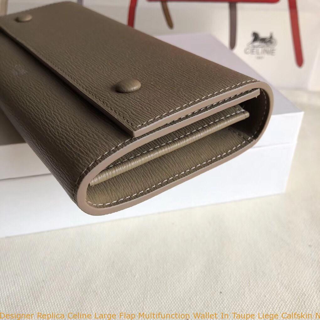 6b4105917e Designer Replica Celine Large Flap Multifunction Wallet In Taupe ...