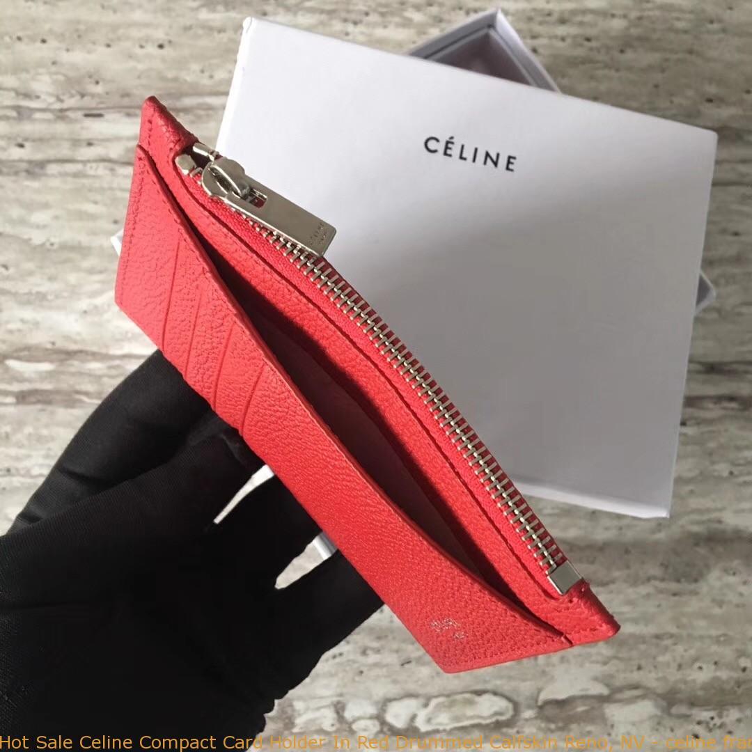promo code 702c5 d2991 Hot Sale Celine Compact Card Holder In Red Drummed Calfskin Reno, NV -  celine frame bag price euro - 1711